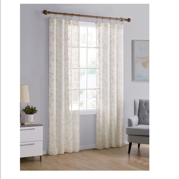 12 Embroidered ivory sheer curtains